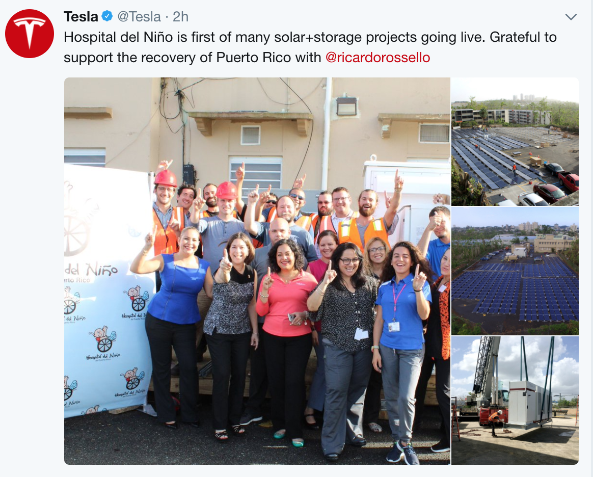 Tesla Solar Puerto Rico Childrens Hospital